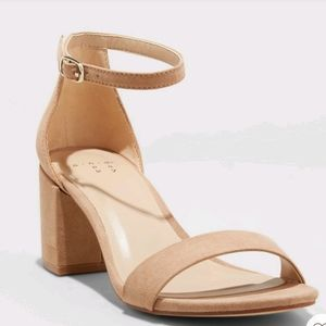 A New Day Taupe Mich Block Heel w ankle strap